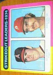 1975 Topps Mini #312 Strikeout Leaders/Nolan Ryan/Steve Carlton