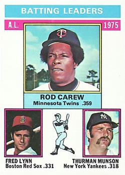 1976 Topps #192 AL Batting Leaders/Rod Carew/Fred Lynn/Thurman Munson