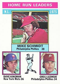 1976 Topps #193 NL Home Run Leaders/Mike Schmidt/Dave Kingman/Greg Luzinski