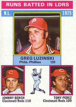 1976 Topps #195 NL RBI Leaders/Greg Luzinski/Johnny Bench/Tony Perez