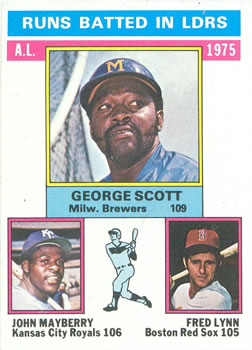 1976 Topps #196 AL RBI Leaders/George Scott/John Mayberry/Fred Lynn