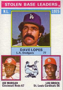 1976 Topps #197 NL Stolen Base Leaders/Dave Lopes/Joe Morgan/Lou Brock