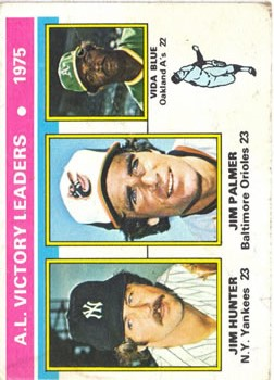 1976 Topps #200 AL Victory Leaders/Jim Hunter/Jim Palmer/Vida Blue