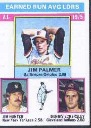 1976 Topps #202 AL ERA Leaders/Jim Palmer/Jim Hunter/Dennis Eckersley