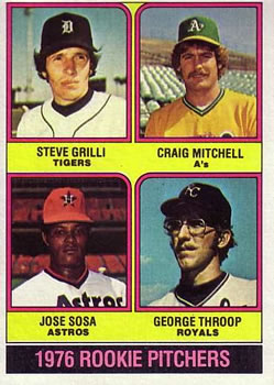 1976 Topps #591 Rookie Pitchers/Steve Grilli RC/Craig Mitchell RC/Jose Sosa RC/George Throop RC