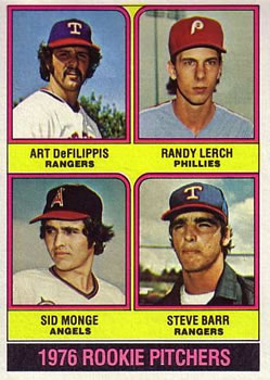 1976 Topps #595 Rookie Pitchers/Art DeFillipis RC/Randy Lerch RC/Sid Monge RC/Steve Barr RC