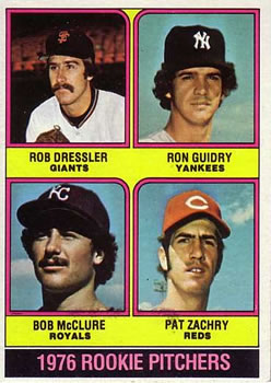 1976 Topps #599 Rookie Pitchers/Rob Dressler RC/Ron Guidry RC/Bob McClure RC/Pat Zachry RC