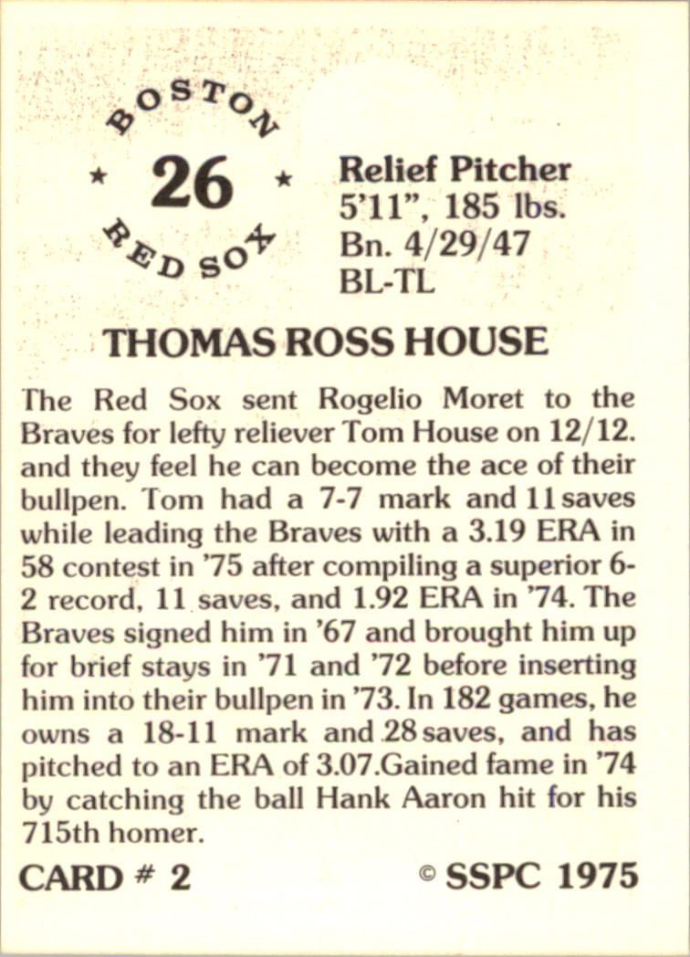 1976 SSPC #2 Tom House back image