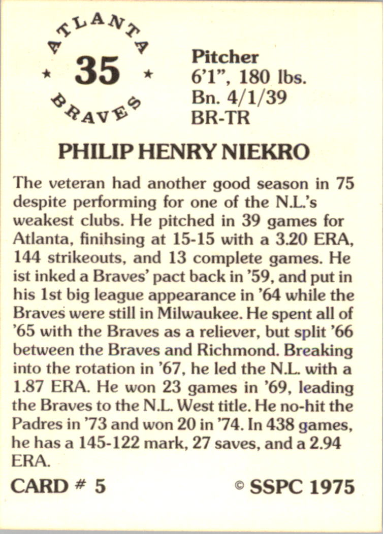 1976 SSPC #5 Phil Niekro back image