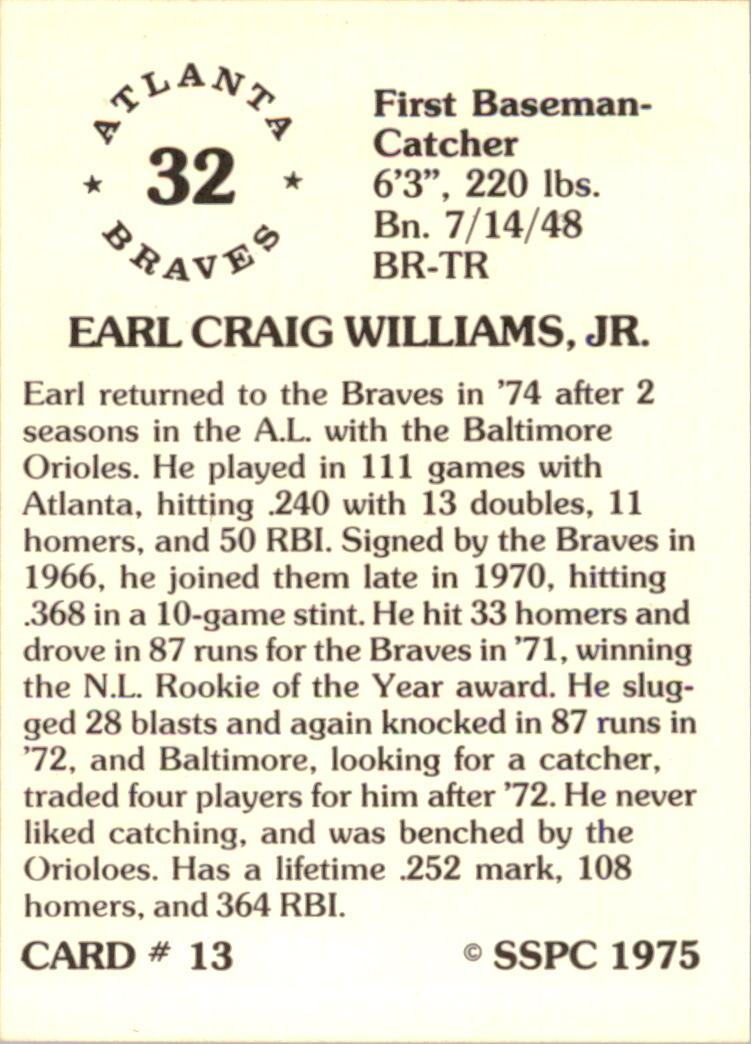 1976 SSPC #13 Earl Williams back image