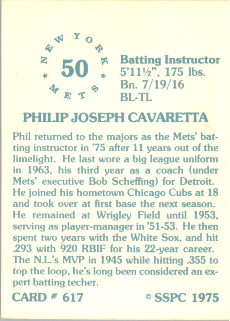 1976 SSPC #617 Phil Cavarretta CO back image