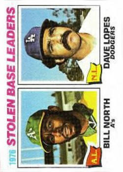 1977 Topps #4 Stolen Base Leaders/Bill North/Dave Lopes
