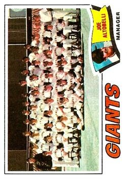 1977 Topps #211 San Francisco Giants CL/Joe Altobelli MG