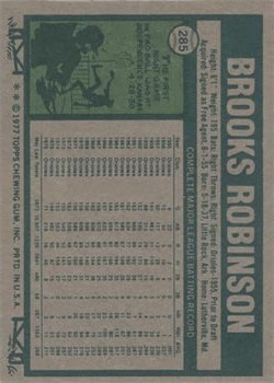 1977 Topps #285 Brooks Robinson back image