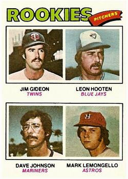 1977 Topps #478 Rookie Pitchers/Jim Gideon RC/Leon Hooten RC/Dave Johnson RC/Mark Lemongello RC