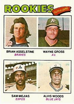 1977 Topps #479 Rookie Outfielders/Brian Asselstine RC/Wayne Gross RC/Sam Mejias RC/Alvis Woods RC