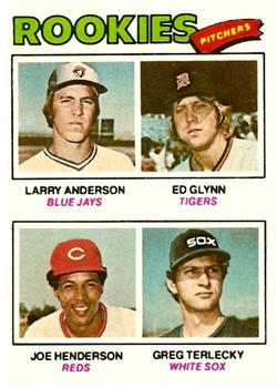 1977 Topps #487 Rookie Pitchers/Larry Anderson/Ed Glynn RC/Joe Henderson RC/Greg Terlecky RC
