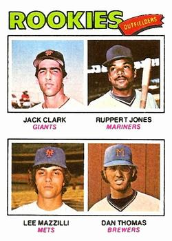 1977 Topps #488 Rookie Outfielders/Jack Clark RC/Ruppert Jones RC/Lee Mazzilli RC/Dan Thomas RC