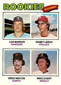 1977 Topps #489 Rookie Pitchers/Len Barker RC/Randy Lerch/Greg Minton RC/Mike Overy RC