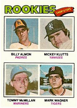 1977 Topps #490 Rookie Shortstops/Billy Almon RC/Mickey Klutts RC/Tommy McMillan RC/Mark Wagner RC