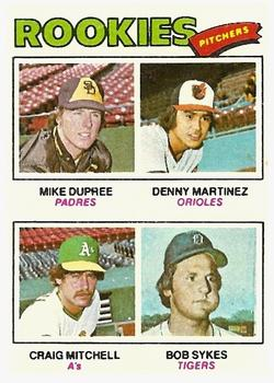 1977 Topps #491 Rookie Pitchers/Mike Dupree RC/Dennis Martinez RC/Craig Mitchell/Bob Sykes RC