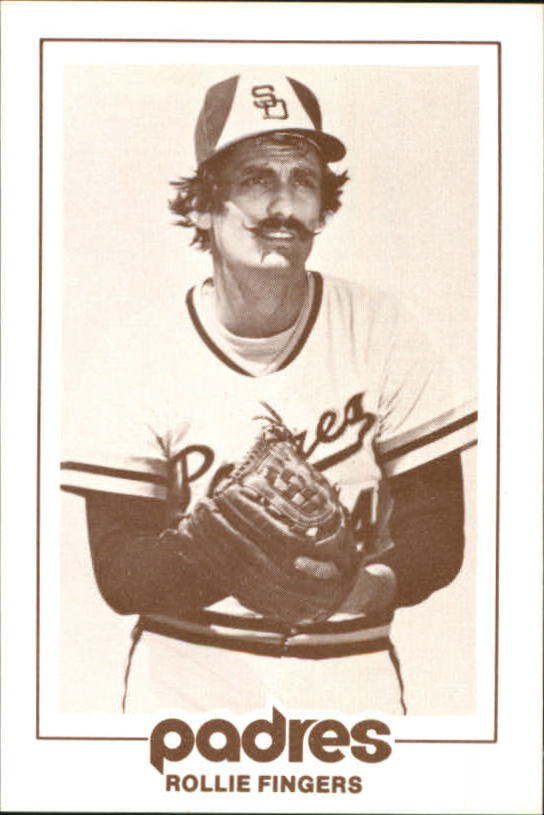 1977 Padres Schedule Cards #21A Rollie Fingers/Shown waist up/both hands in glove/in front of body
