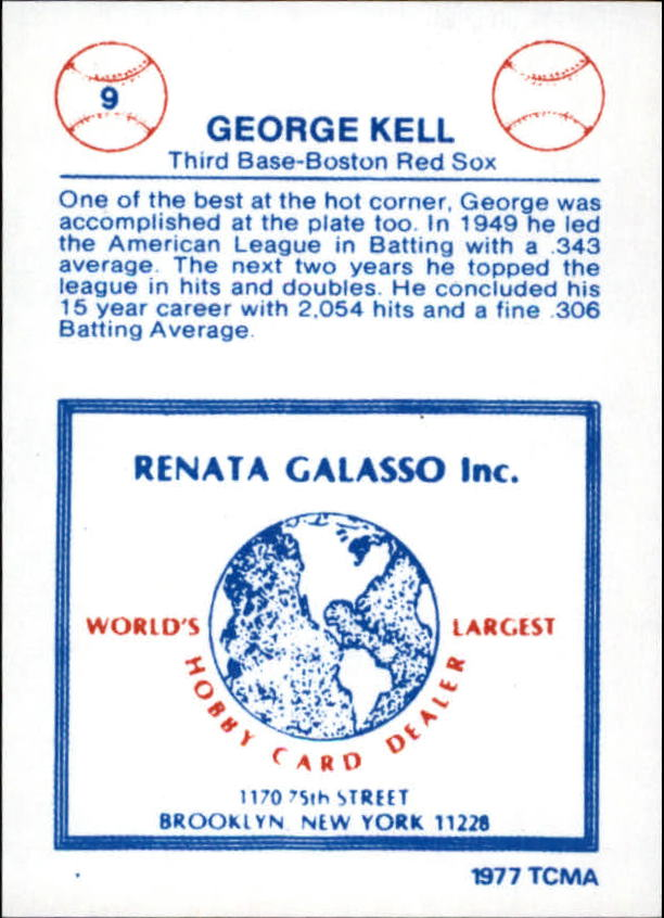 1977-84 Galasso Glossy Greats #9 George Kell back image