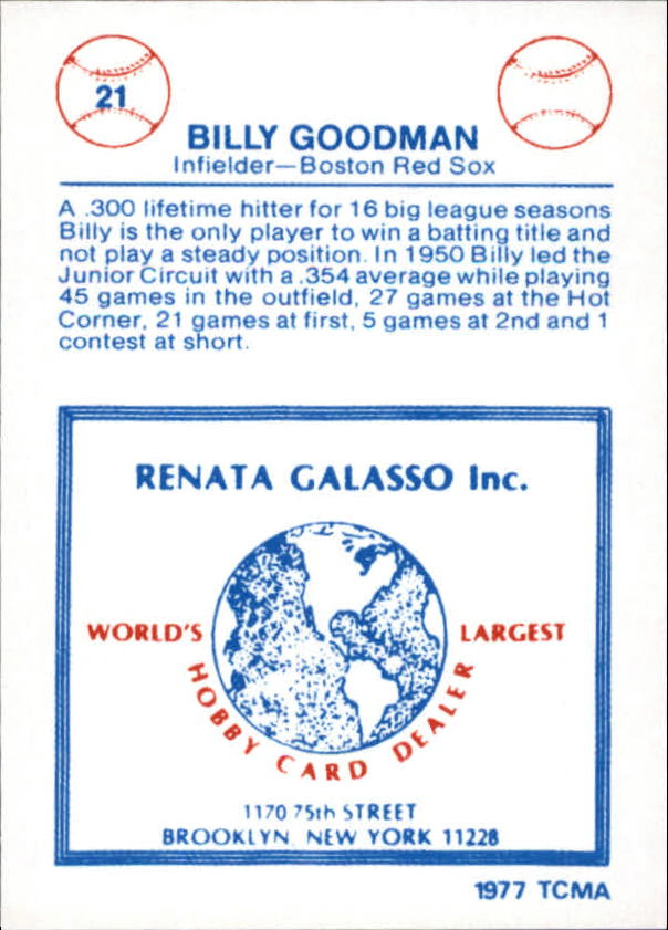 1977-84 Galasso Glossy Greats #21 Billy Goodman back image