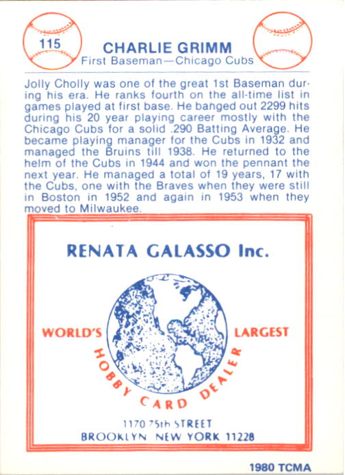 1977-84 Galasso Glossy Greats #115 Charlie Grimm back image