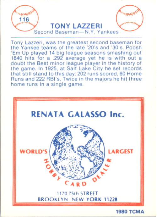 1977-84 Galasso Glossy Greats #116 Tony Lazzeri back image