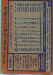 1978 Topps #574 Bob Lemon MG back image