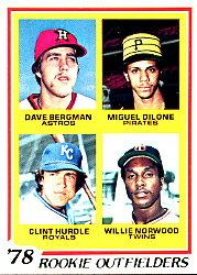 1978 Topps #705 Rookie Outfielders/Dave Bergman RC/Miguel Dilone RC/Clint Hurdle RC/Willie Norwood RC