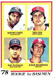 1978 Topps #706 Rookie 1st Basemen/Wayne Cage RC/Ted Cox RC/Pat Putnam RC/Dave Revering RC