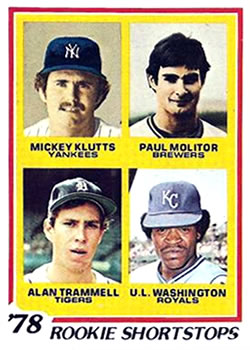 1978 Topps #707 Rookie Shortstops/Mickey Klutts/Paul Molitor RC/Alan Trammell RC/U.L. Washington RC