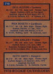 1978 Topps #710 Rookie Outfielders/Dell Alston RC/Rick Bosetti RC/Mike Easler RC/Keith Smith RC back image
