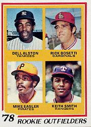 1978 Topps #710 Rookie Outfielders/Dell Alston RC/Rick Bosetti RC/Mike Easler RC/Keith Smith RC front image