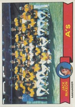 1979 Topps #328 Oakland Athletics CL/Jack McKeon MG