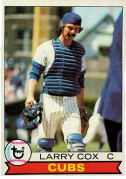 1979 Topps #489 Larry Cox UER/(Photo actually/Dave Rader)