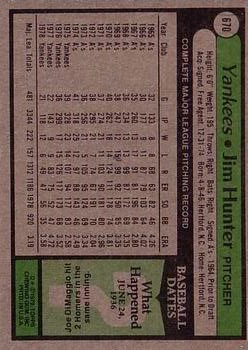 1979 Topps #670 Jim Hunter DP back image