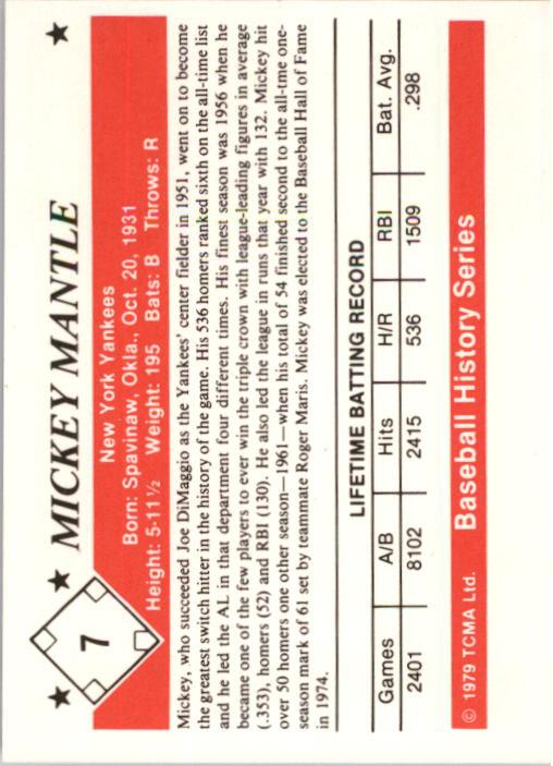 1979 TCMA 50'S #7 Mickey Mantle back image