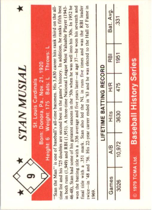1979 TCMA 50'S #9 Stan Musial back image