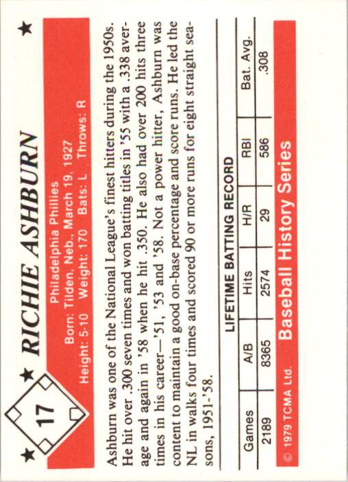 1979 TCMA 50'S #17 Richie Ashburn back image