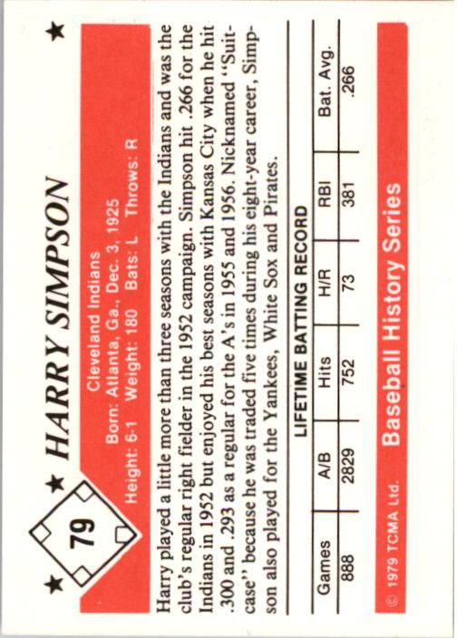 1979 TCMA 50'S #79 Harry Simpson back image