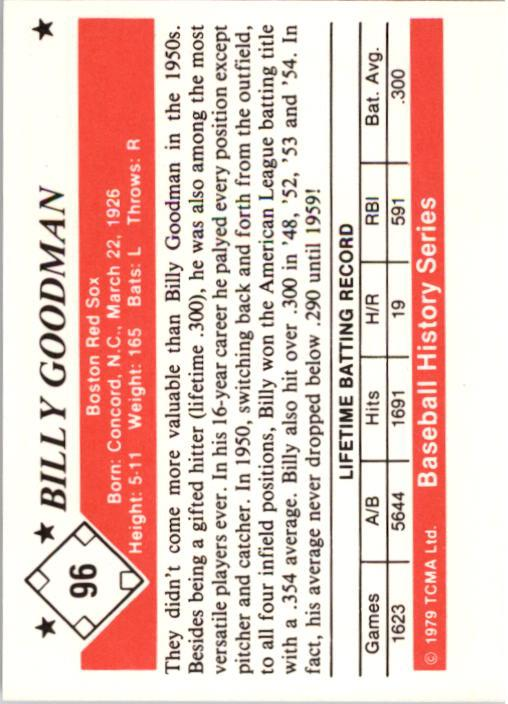 1979 TCMA 50'S #96 Billy Goodman back image