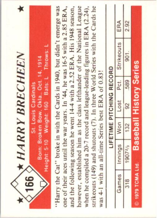 1979 TCMA 50'S #166 Harry Brecheen back image