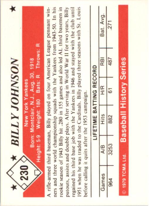 1979 TCMA 50'S #230 Billy Johnson back image