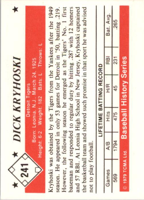 1979 TCMA 50'S #241 Dick Kryhoski back image