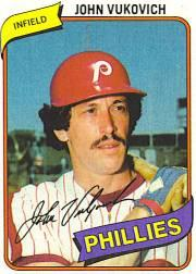 1980 Phillies Burger King #8 John Vukovich *