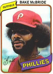 1980 Phillies Burger King #9 Bake McBride