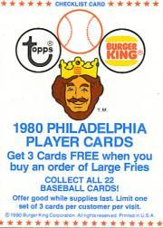 1980 Phillies Burger King #NNO Checklist Card TP